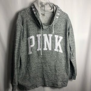 Victoria Seceret PINK grey hoodie size Large 0506